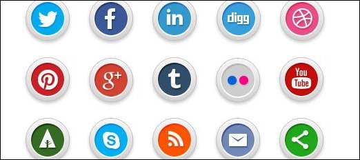 Nice and modern Roun Social Media Buttons